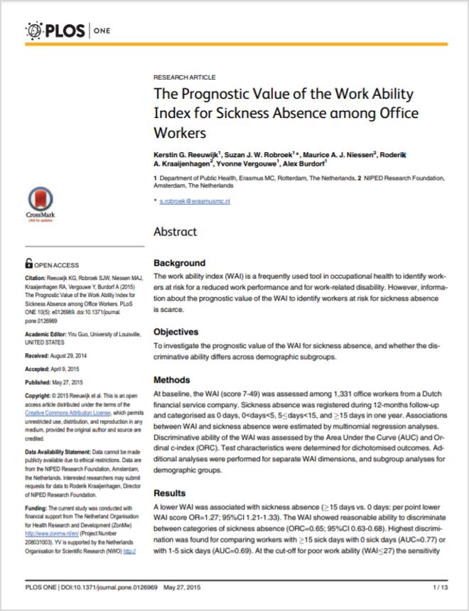 PlosOne Article Work Ability Index